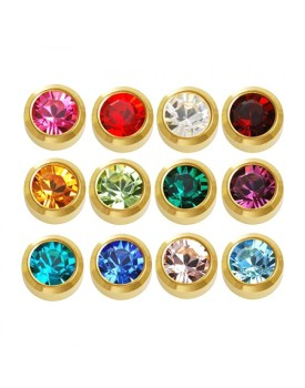 Caflon Blu 12x Gold Plated Birthstone Regular Stud Earrings