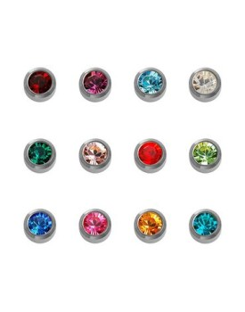 Caflon Blu 12x White Stainless Steel Birthstone Regular Stud Earrings