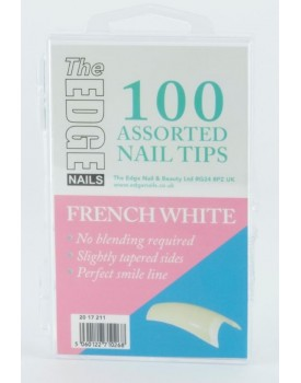 The Edge French White Nail Tips 100 Assorted Sizes 1-10