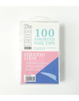 The Edge Stiletto CLEAR 100 Assorted Nail