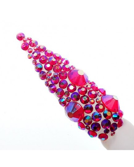 Claw Culture Cristallo Real Glass Nail Crystals-Red Rainbow