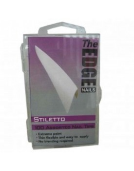 The Edge Stiletto WHITE 100 Assorted Nail