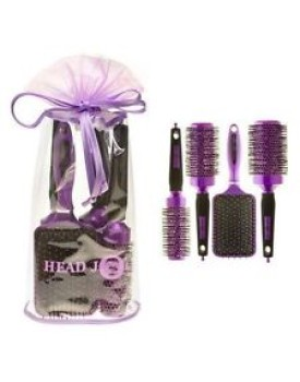 HairTools Head Jog Purple Ceramic Ionic Brushes Set Of 4