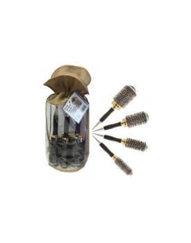 HEAD JOG Professional Radial Hair Brush Set Thermal Gold Ceramic